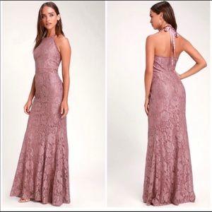 Lulu's Every Memory Mauve Lace Halter Maxi Dress